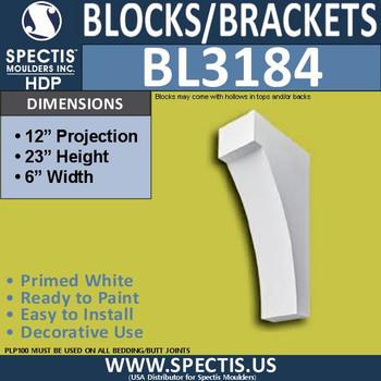 "BL3184 Eave Block or Bracket 6""W x 23""H x 12""P"