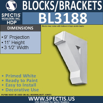"BL3188 Eave Block or Bracket 3.5""W x 11""H x 9""P"
