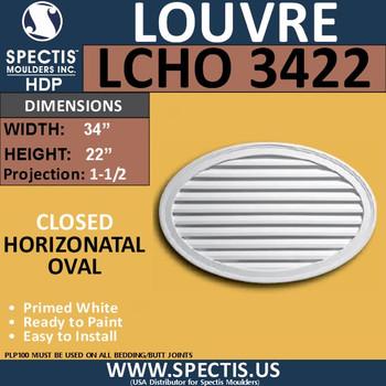 LCHO3422 Horizontal Oval Louver Closed 34 x 22