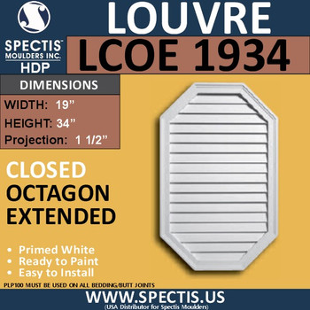 LCOE1934 Octagon Elongated Louver Closed 19 x 34