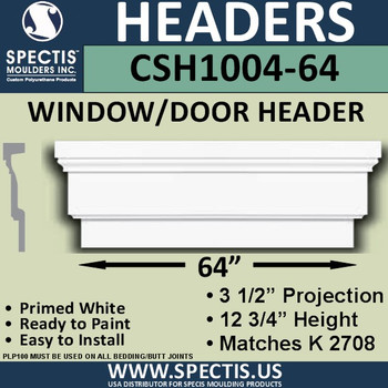 "CSH1004-64 Crosshead for Window/Door 3.25""P x 12.75""H x 64""W"