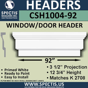 "CSH1004-92 Crosshead for Window/Door 3.25""P x 12.75""H x 92""W"