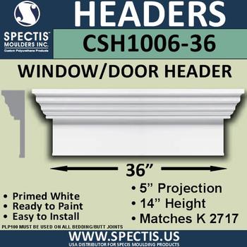 """CSH1006-36 Crosshead for Window/Door 5""""P x 14""""H x 36""""W"""