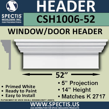 """CSH1006-52 Crosshead for Window/Door 5""""P x 14""""H x 52""""W"""