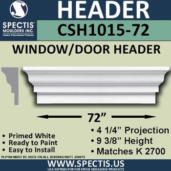 """CSH1015-72 Crosshead for Window/Door 4.25""""P x 9.375""""H x 72""""W"""