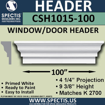 """CSH1015-100 Crosshead for Window/Door 4.25""""P x 9.375""""H x 100""""W"""