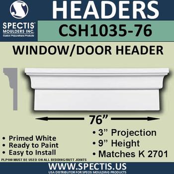"""CSH1035-76 Crosshead for Window/Door 3""""P x 9""""H x 76""""W"""