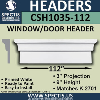 """CSH1035-112 Crosshead for Window/Door 3""""P x 9""""H x 112""""W"""
