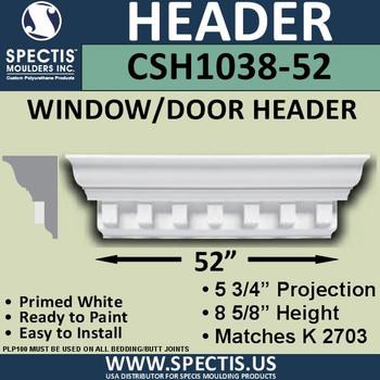 """CSH1038-52 Crosshead for Window/Door 5.75""""P x 8.625""""H x 52""""W"""