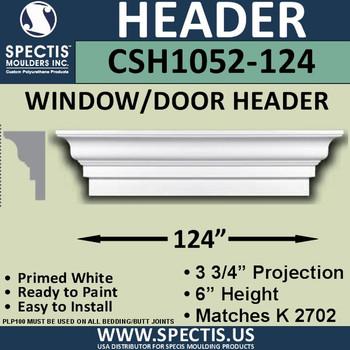 """CSH1052-124 Crosshead for Window/Door 3.75""""P x 6""""H x 124""""W"""