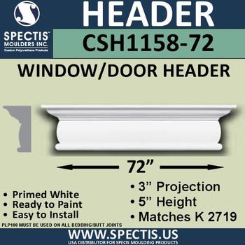 """CSH1158-72 Crosshead for Window/Door 3""""P x 5""""H x 72""""W"""