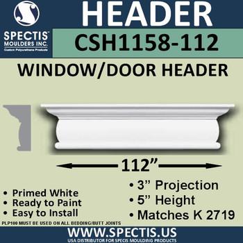 """CSH1158-112 Crosshead for Window/Door 3""""P x 5""""H x 112""""W"""