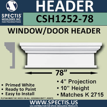 "CSH1252-78 Crosshead for Window/Door 4""P x 10""H x 78""W"