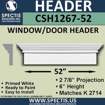 """CSH1267-52 Crosshead for Window/Door 2.875""""P x 6""""H x 52""""W"""