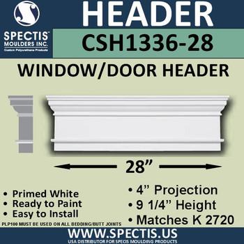 """CSH1336-28 Crosshead for Window/Door 4""""P x 9.25""""H x 28""""W"""