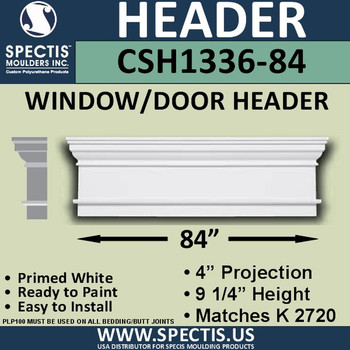 "CSH1336-84 Crosshead for Window/Door 4""P x 9.25""H x 84""W"