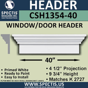 """CSH1354-40 Crosshead for Window/Door 4.5""""P x 9.75""""H x 40""""W"""