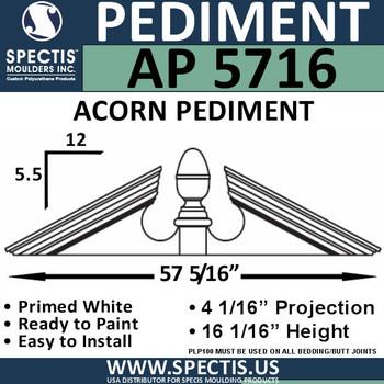 """AP5716 Acorn Pediment for Window/Door 57 5/16"""" x 16 1/16"""""""