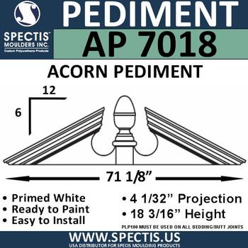 """AP7018 Acorn Pediment for Window/Door 71 1/8"""" x 18 13/16"""""""