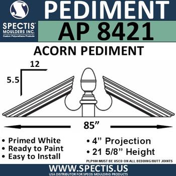 """AP8421 Acorn Pediment for Window/Door 85"""" x 21 5/8"""""""