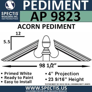 """AP9823 Acorn Pediment for Window/Door 98 1/2"""" x 23 9/16"""""""