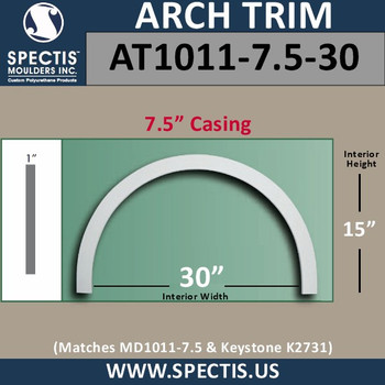 """AT1011-7.5-30 Arch Top Circle 7.5"""" Casing Fits 30"""" Opening"""