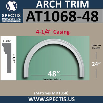 """AT1068-48 Arch Circle Top 4.25"""" Casing Fits 48"""" Opening"""