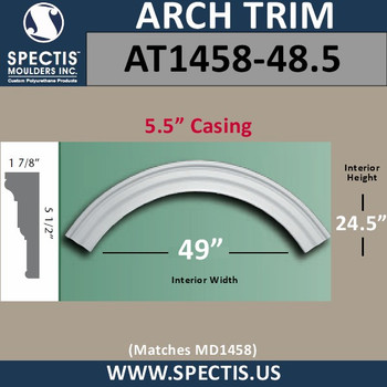"""AT1458-48.5 Arch Circle Top 5.5"""" Casing Fits 49"""" Opening"""