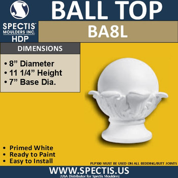 "BA8L Urethane Ball for Newel Post Cap 8"" Wide"