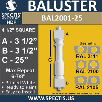 "BAL2001-25 Urethane Baluster or Spindle 4 1/2""W X 25""H"