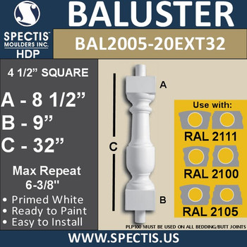 "BAL2005-20EXT32 Urethane Baluster or Spindle 4 1/2""W X 32""H"