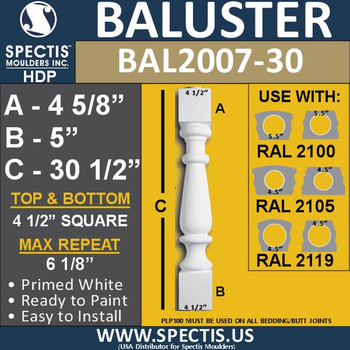 "BAL2007-30 Urethane Baluster or Spindle 4 1/2""W X 30 1/2""H"