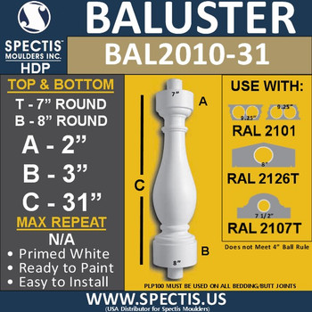 "BAL2010-31 Urethane Baluster or Spindle 7""W X 31""H"