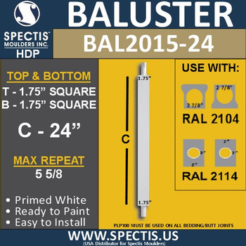 "BAL2015-24 Urethane Baluster or Spindle 1 3/4""W X 24""H"