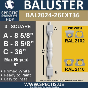 """BAL2024-26EXT36 Urethane Baluster or Spindle 3""""W X 36""""H"""