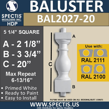 """BAL2027-20 Urethane Baluster or Spindle 5 1/4""""W X 20""""H"""