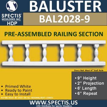 "BAL2028-9 Assembled Balusters 9""H X 2""P X 6'L X 6""Repeat"
