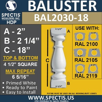 """BAL2030-18 Urethane Baluster or Spindle 4 1/2""""W X 18""""H"""