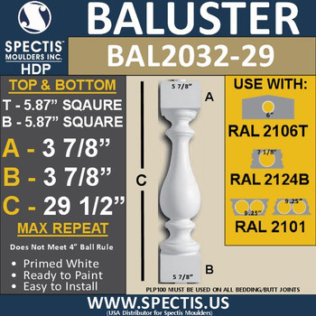 """BAL2032-29 Urethane Baluster or Spindle 5 7/8""""W X 29 1/2""""H"""