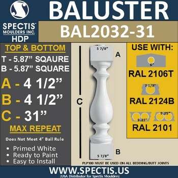 "BAL2032-31 Urethane Baluster or Spindle 5 7/8""W X 31""H"
