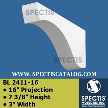 "BL2411-16 Corbel Block or Eave Bracket 16""P x 7 3/8""H  x 3""W"