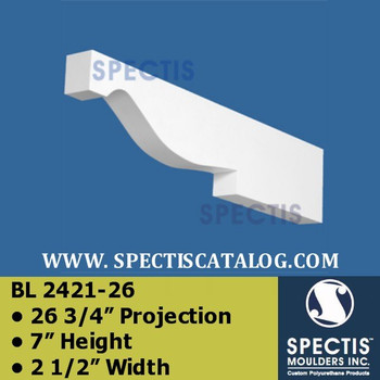 "BL2421-26 Corbel Block or Eave Bracket 2.5""W x 7""H x 26.75"" P"