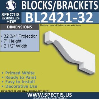 "BL2421-32 Eave Block or Bracket 2.5""W x 7""H x 32"" P"