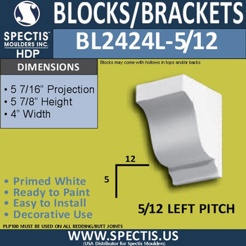 "BL2424R-5/12 Pitch Eave Block 4""W x 6""H x 6"" P"