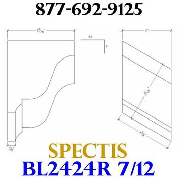 "BL2424R-7/12 Pitch Corbel Block or Bracket 4""W x 6""H x 6"" P"