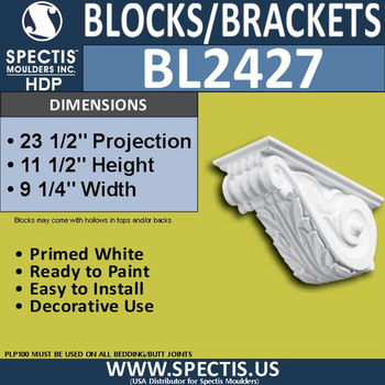 "BL2427 Eave Block or Bracket 9.25""W x 11.5""H x 23.5"" P"