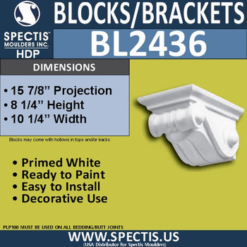 "BL2436 Eave Block or Bracket 10.25""W x 8""H x 16"" P"