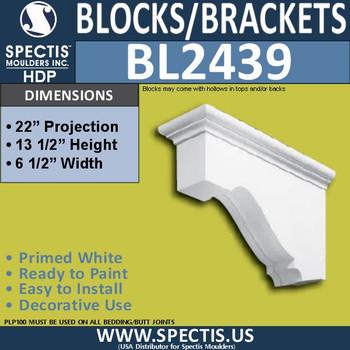 "BL2439 Eave Block or Bracket 6.5""W x 12.5""H x 22"" P"