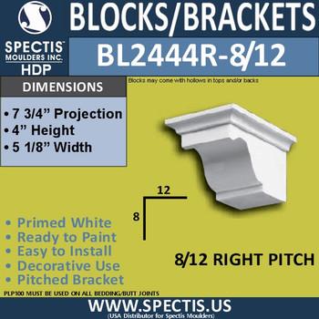 "BL2444R-8/12 Pitch Eave Block 5""W x 4""H x 8"" P"