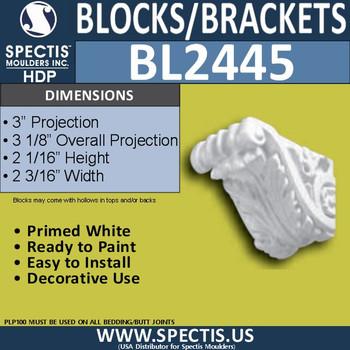 "BL2445 Eave Block or Bracket 2""W x 2""H x 3"" P"